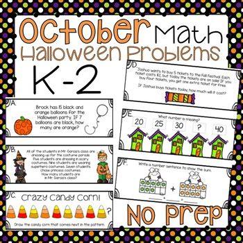 halloween math word problems by thehappyteacher tpt