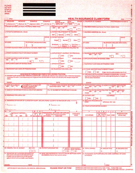 claim form 1500 templates free printable