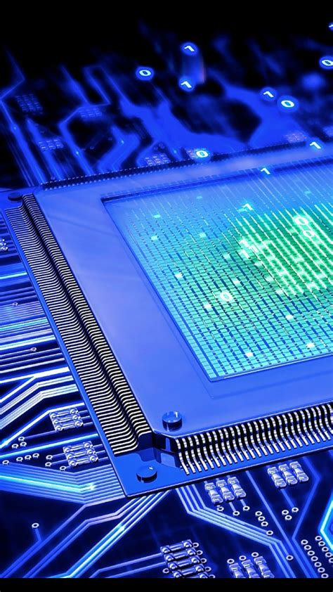 Processor CPU Motherboard Blue Circuits Wallpaper ...