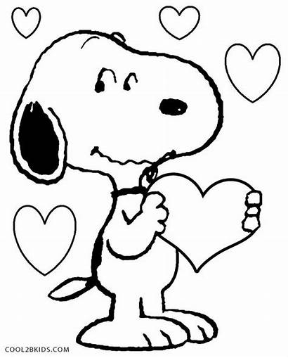 Snoopy Coloring Pages Valentines Printable Cool2bkids
