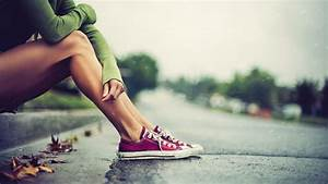 Photography, Street, Rain, Leaves, Legs, Converse, Women, Shoes, Wallpapers, Hd, Desktop, And