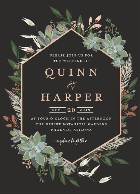 Wedding invitation design featuring a succulent geometric