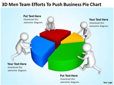 men team efforts  push business pie chart