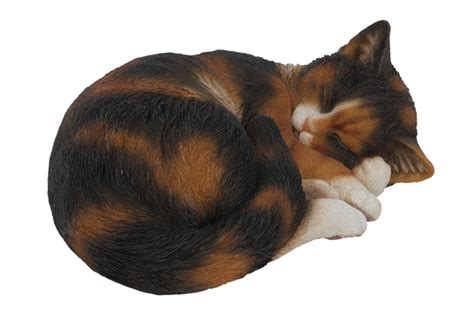 vivid sleeping tortoiseshell cat resin garden ornament