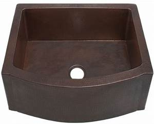 fha25 inch hammermarc copper kitchen sink rounded front With 25 inch apron front sink