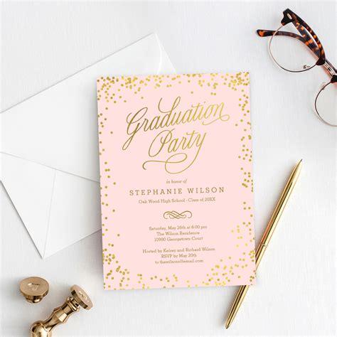 shiny confetti graduation invitation template editable