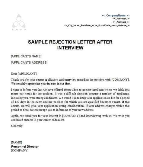 job rejection letter templates samples template lab