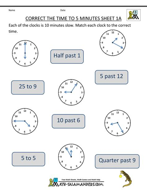 clock worksheet correct the time to 5 minutes 1a class