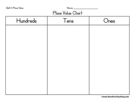 place  chart hundreds tens   fun teaching