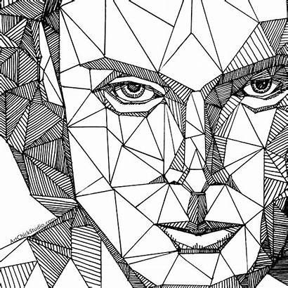 Portrait Geometric Drawing Picasso Cubist