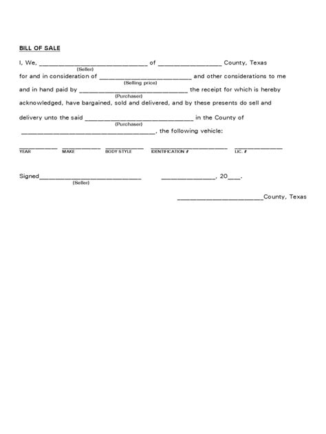 bill of sale form texas pdf texas bill of sale form free templates in pdf word