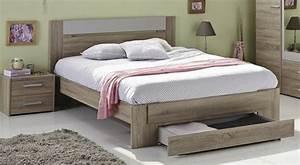 Lit Adulte Rangement : lit bois naturel avec rangement tweed couchage 140 x 190 cm ~ Teatrodelosmanantiales.com Idées de Décoration