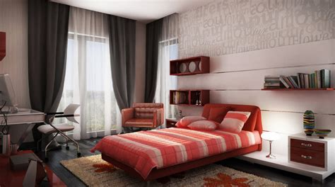 Beautiful Spectacular Design Red White Gray Bedroom Red