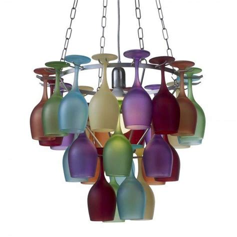 multi coloured wine glass chandelier litecraft