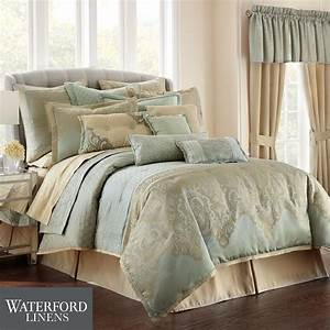Aramis, Gold, And, Aqua, Mist, Comforter, Bedding, By, Waterford