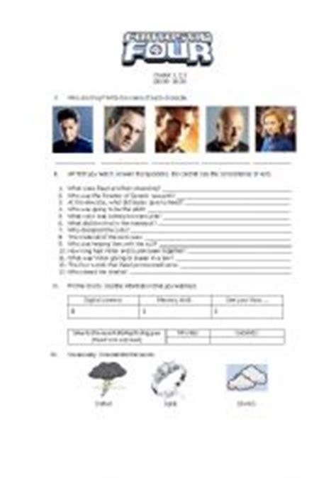 English Worksheet Fantastic Four