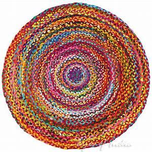Teppich Rund 2m : 1 2 m rund bunt gewebt chindi dekorativ fleckerlteppich indische b hmisch ebay ~ Whattoseeinmadrid.com Haus und Dekorationen