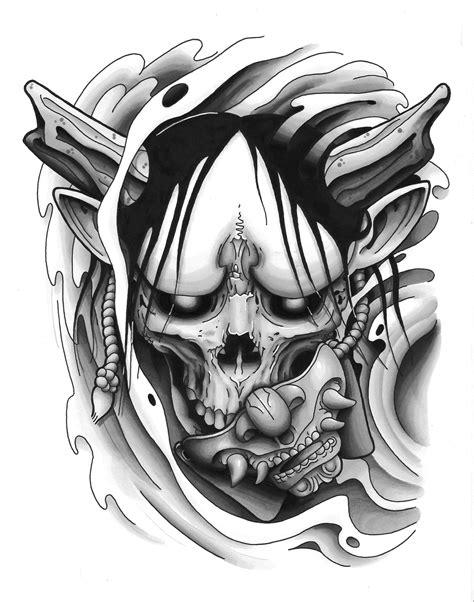Hannya Mask tattoo design black and grey | Tattoo designs, Skull tattoo design, Tattoos