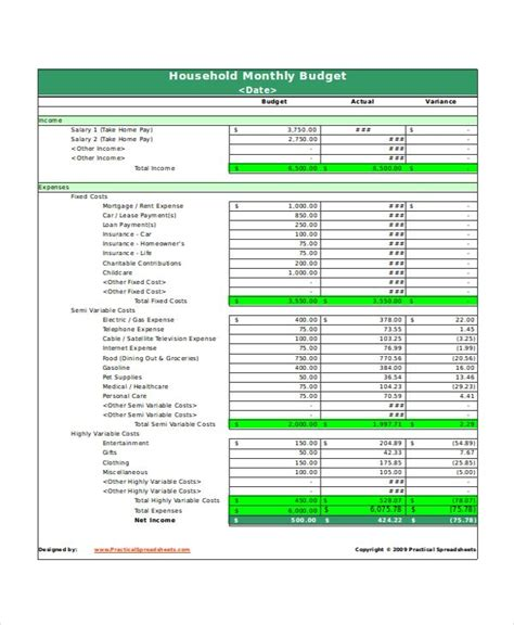 monthly household budget spreadsheet excel monthly