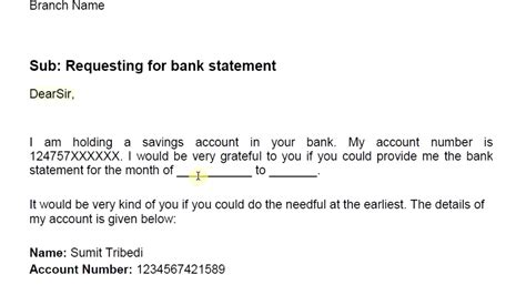 write bank statement request letter simplified