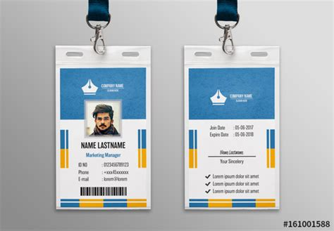 blue textured id card layout buy  stock template