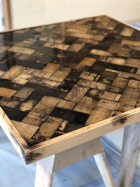 beautiful whiskey stave  table  epoxy finish