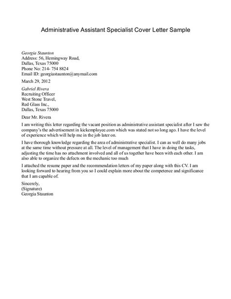 sample cover letter administrative assistant  riez