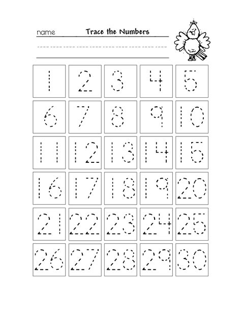free printable number chart 1 30 kinder numbers 575 | 8a25767e69adfc3539b5becd58d022bc