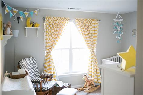 Yellow And White Curtains For Nursery by Blackout Curtains Nursery Homesfeed