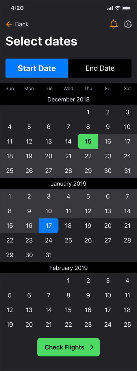 calendar  pickers figma ios ui kit