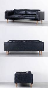 Modern sectional sofa black leather lungo l belianicom for Genuine black leather sectional sofa