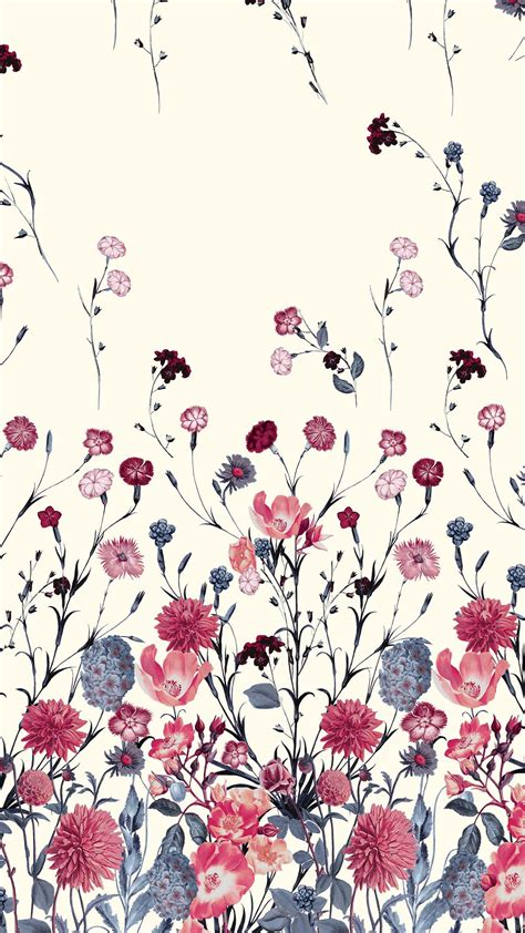 blue  red flower floral pattern wallpapers bonitos