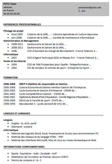 Curriculum Vitae Or Resume Canada by Id 233 E Modele Cv Eic Canada