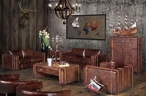 Canape club et deco vintage dans un interieur moderne for Tapis shaggy avec canapé club microfibre cuir vieilli