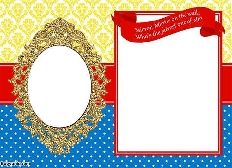 printable mirror snow white princess birthday