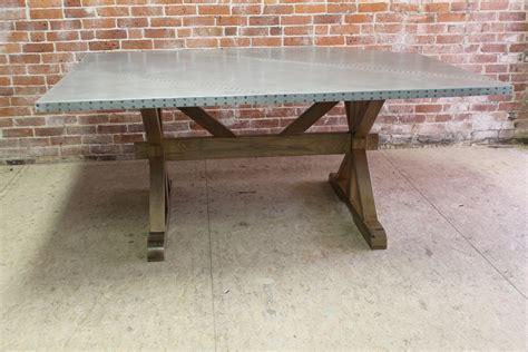 Zinc Top Farm Table With X Trestle Base   ECustomFinishes