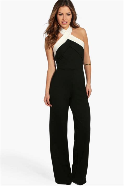 boohoo jumpsuits boohoo womens colour block cross front