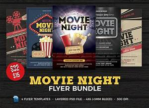 Background Images For Photoshop Wedding Movie Night Flyer Template Bundle Flyer Templates