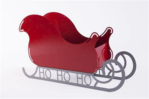 large santa sleigh with ho ho ho base rose metal
