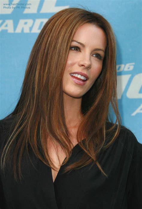 Kate Beckinsale's long straight auburn hair with