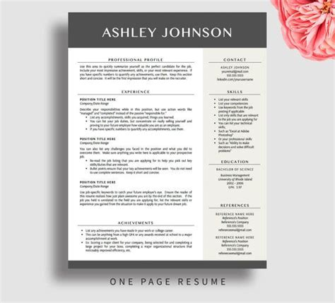 professional resume template  word pages resume