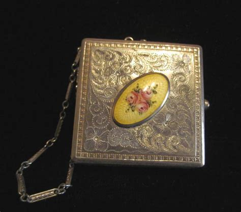 antique guilloche compact purse powder mirror compact