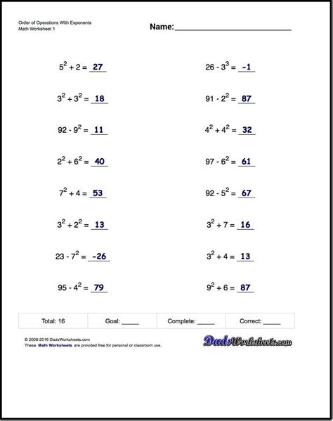 order of operations worksheets for order of operations