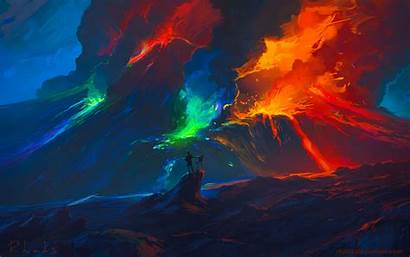 Colorful Waves Artist Fantasy Background Widescreen