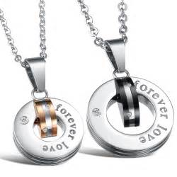 wedding bands sets his and matching forever stainless steel couples necklace pendant set