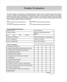 Vendor Evaluation Form Sample