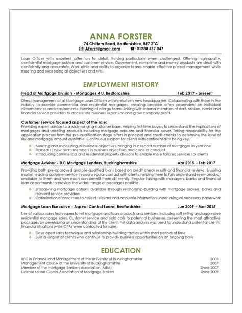 Loan Officer Resume by Loan Officer Resume Sle Shine A Light
