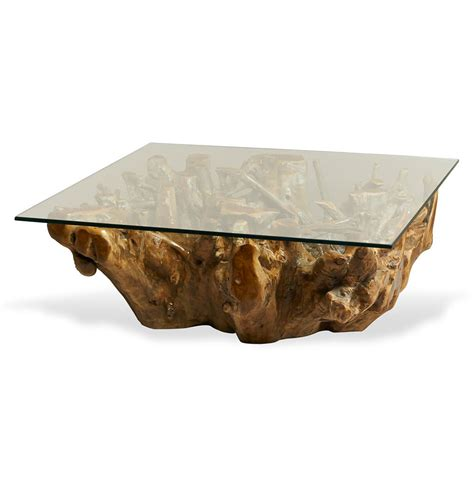 1x maba country of origin: Hedin Rustic Lodge Glass Teak Root Square Coffee Table | Kathy Kuo Home