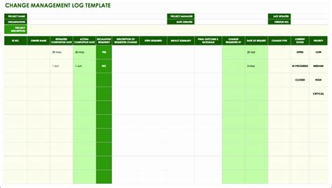 change control template excel exceltemplates