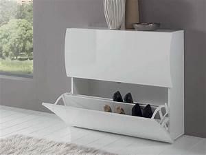 Meuble A Chaussure Blanc Laqué : meuble chaussures onda blanc laqu 101 x 26 5 x 81 ~ Melissatoandfro.com Idées de Décoration